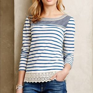 Anthro Little Yellow Button Shiloh Striped Tee